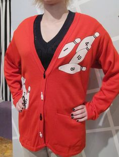80s Bright Red Bowling Cardigan Sweater with Bowling by kokorokoko, $44.00