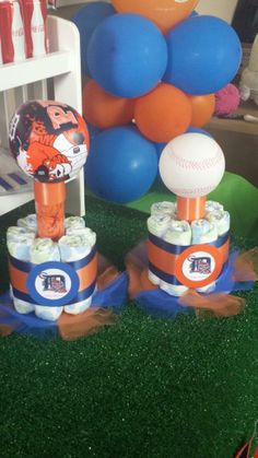 Detroit Tigers Themed Baby Shower diaper cake centerpieces