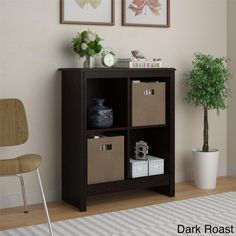 4-cube Storage Cubby Bookcase with Two (2) Storage Bins | Overstock™ Shopping - Big Discounts on Office Storage & Organization