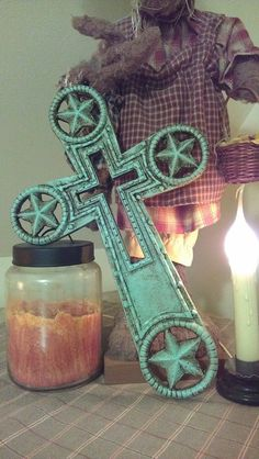 WaLL CrOss WRougHt IrOn CroSs HoMe DeCor Shabby by villagefrippery, $42.00