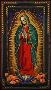 Santa Muerte... I am fascinated with cult figures in Latin American religions/culture, indigenous figures, morphed with catholic symbolism.
