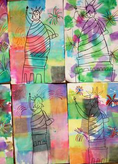 Lady Liberty with tissue painted background-2nd grade