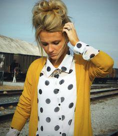 the dot, polka dots, messy hair, polkadot, outfit, messy buns, beauti, black, mustard yellow