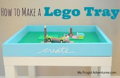Super easy children's Lego table.  Just $5 in materials and a little time.  Fantastic gift idea!  Flip it over and use it for puzzles, games, coloring and more.