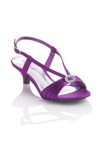 """The perfect lower heel sandal available in a multitude of colors to go with your special occasion attire. These satin sandals feature a pleated vamp with a color coordinating rhinestone ornament and an ajustable buckle on the ankle strap. Manmade sole and 1 3/4"""" heel. Imported by Coloriffics."""