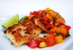 Crusted Tilapia with mango salsa