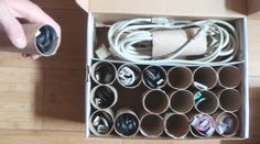 Toilet paper rolls to organize cables! We so need this!