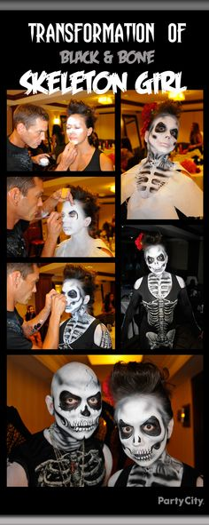 Fiendishly fun makeup for ghostly ghouls or Day of the Dead characters… conjured up by our makeup artist at the Party City Halloween conference. To die for!
