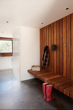 Architecture, Cool Mudroom With Wood Wall Cladding And Fixed Bench Like A Sauna With Coat Hangers: Dashing Piermont House With Branch Off Pl...