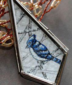 Glass Locket  Blue Jay Bird Necklace Art Hand by ArtMadeByTammy, $50.00