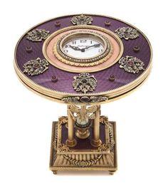 Russian Guilloche Enamel Table Clock