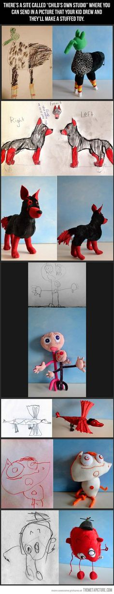 Children's drawings become real toys. So fun.