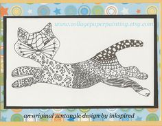 A Mod Cool Cat zentangle blank note card by collagepaperpainting, $3.25