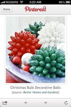Christmas bulbs repurposed