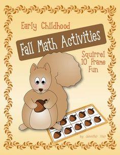 ten frames, fall math, math activities, early childhood, frame idea, frame fun, squirrel, 10 frame, fall 10