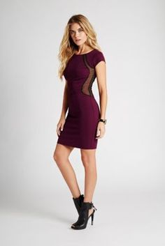 Cap-Sleeve Textured Body-Con Dress | GUESS.com