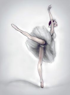 ballerina. illustration. drawing. black and white.