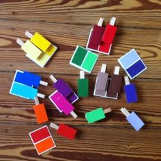Learn how to make a simple color matching game by using paint sample cards and wooden clothespins. Quick and easy, but fun!