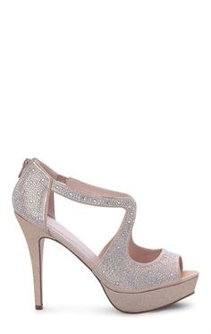 Deb Shops Rhinestone Platform Pump with Peep Toe and Center Cutout