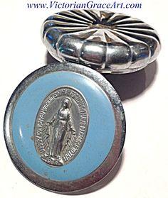 Vintage Rosary Bead Case Blue Enamel Miraculous Medal (Image1)