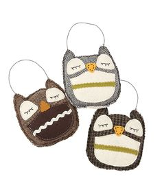 Baby Owl Ornament Set