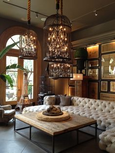 Stunning rustic living room with birdcage chandeliers at Dansk.