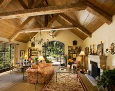 rustic gardens, living rooms, ceiling design, beams, rustic design, living room designs, design studios, olives, barn houses