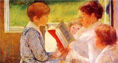 mari cassatt, oil paintings, mothers day, book, children, mary cassatt, painting techniques, famous art, cassatt read