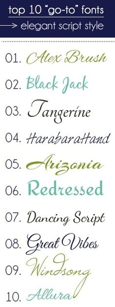 go-to fonts in elegant script style