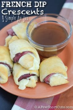 French Dip Crescents & Simple Au Jus- Super simple weekday meal:  crescent rolls, deli roast beef & provolone, super simple au jus which hubby will love.  Maybe do adult ones on a french roll & kids on a crescent?