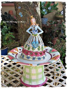 Blue Sky Queen of Friends Pedestal Whimsy  by GardenWhimsiesByMary