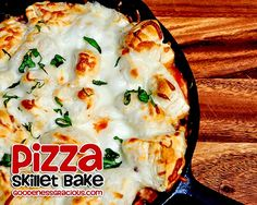 Pizza Skillet Bake- Such a good one skillet meal and really easy to lighten up!