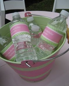 DIY water bottles.  A must for an outdoor birthday party