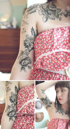 vintage looking flower tattoo