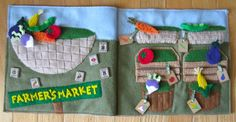 farmer market, book idea, pattern, farmers market, quietbook, quiet books, felt boards, book pages, book projects