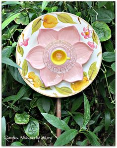 Pink Petal Plate Flower Garden Stake  As by GardenWhimsiesByMary, $38.00