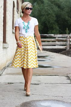 White T-shirt, Teal Resin Necklace and Yellow Chevron Print Skirt