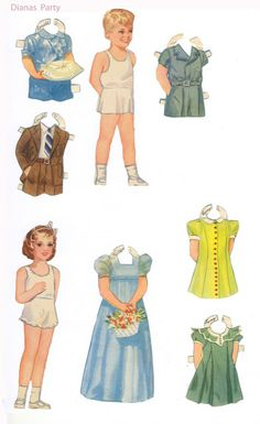 flower girl and ring bearer paper dolls - perfect table setting surprise for your little ladies