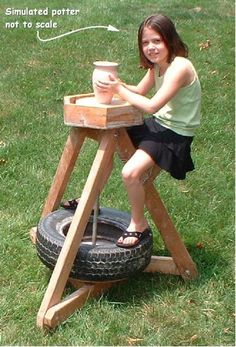 Kids Art Material for Clay:  Homemade Portable Pottery Wheel.