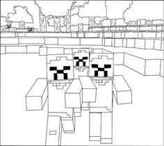 A free, printable Minecraft Zombies coloring page found at MinecraftColoringPages.com