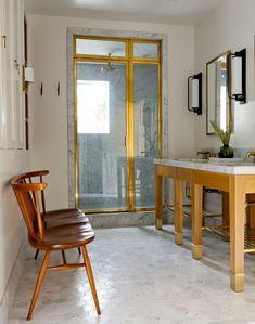 Disc Interiors, Glen Lawson, Lawson Fenning, Henry Plumbing Fixture, Marble Shower, Sconces at Vanity | Remodelista