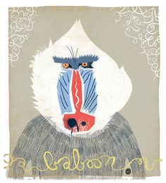Angry baboon: unimpressed owl's spirit animal. Also, great print!