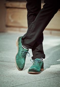 Green brogues.