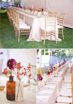 gold chiavari chairs and family style table