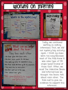 """inference mystery bags--use as lesson's """"hook"""" then transfer same skills to reading a variety of texts *would be cool to do around Halloween"""