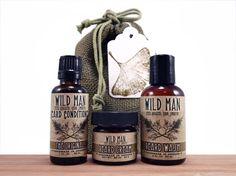 Man Gift Set BEARD Conditioner Wash Cream Wild by WildRoseHerbs, $37.99