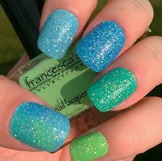 Love the colors! #nails #sparkly