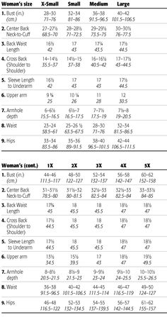 Women's Size measurements for crochet, knitting, sewing crafts.