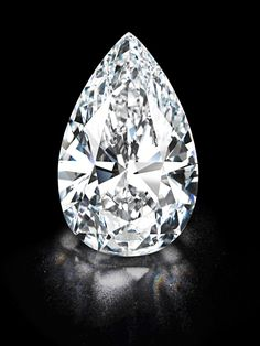 """Winston Legacy"", a remarkable flawless, colorless pear-shaped diamond weighing more than 101 carats."