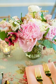 DIY mother's day flower arrangement: peonies + roses + greens + hobnail vase (made by Hey Gorgeous Events)